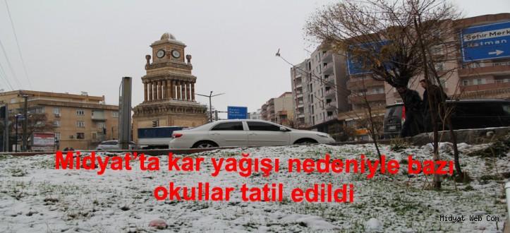 Midyat'ta kar yağışı nedeniyle bazı okullar tatil edildi