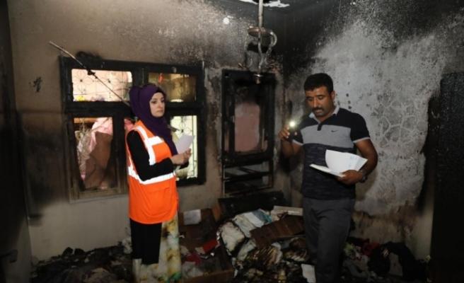 Yangında kızlarını kaybeden Suriyeli aileye belediye el uzattı