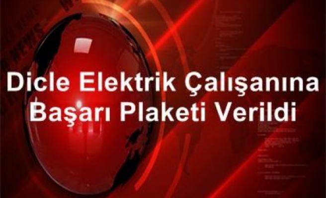 Dicle Elektrik çalışanına başarı plaketi verildi