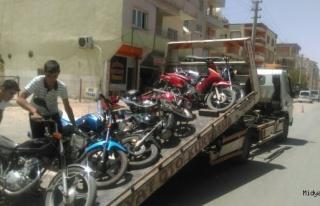 Midyat ilçesinde, motosikletlere yönelik denetim...
