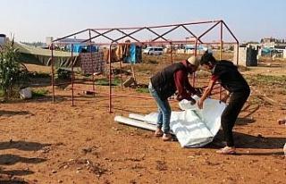Yağıştan etkilenen Suriyelilere yardım eli